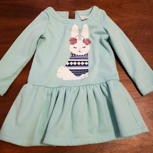 Gymboree dress - light blue with bunny, 4